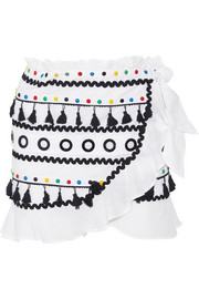 Dodo Bar Or Abigail  embellished cotton-gauze wrap mini skirt