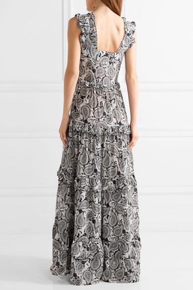 Tiered Printed Silk Maxi Dress - Black Dodo Bar Or ZjrYHO