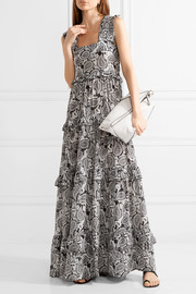 Tiered printed silk maxi dress