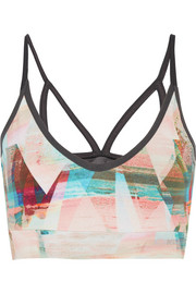 I Am Calm mesh-paneled printed stretch-jersey sports bra