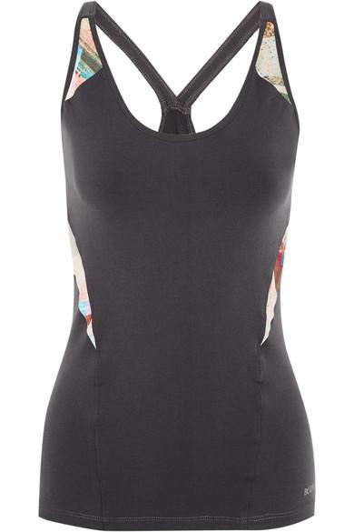 Bodyism - I Am Calm Paneled Printed Stretch-jersey Top - Dark gray