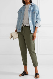 James Perse Cropped brushed stretch-cotton pants