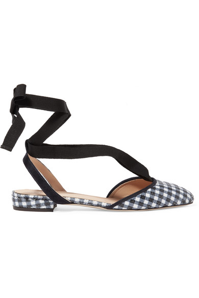 J.Crew - Foster Sequined Gingham Canvas Ballet Flats - Navy