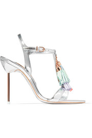 Layla tasseled mirrored-leather sandals