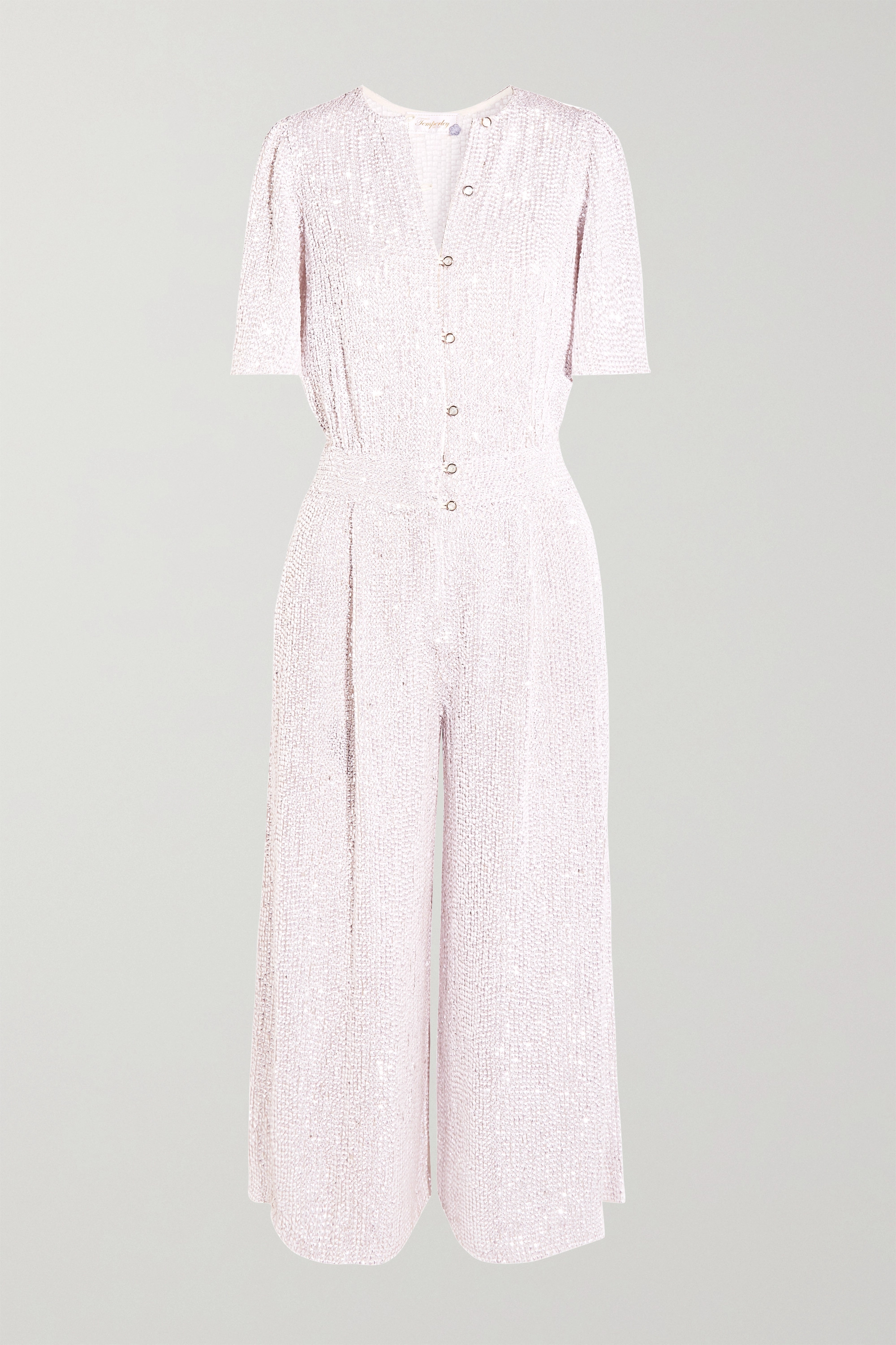 Temperley London Olina cropped sequined tulle jumpsuit