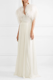 Temperley London Feather-embellished silk-satin cape