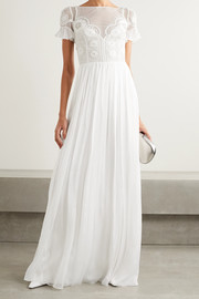 Open-back embellished crocheted tulle and silk-chiffon gown
