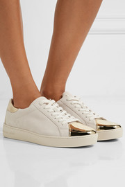 Frankie metallic leather-trimmed suede sneakers