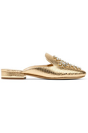 Edie embellished metallic snake-effect leather slippers
