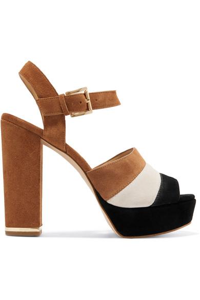 MICHAEL Michael Kors - Anise Striped Suede Platform Sandals - Tan