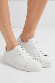 Croc-effect leather sneakers