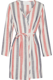 Solid and Striped The Erin striped cotton-blend gauze robe