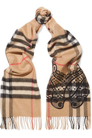 Embroidered checked cashmere scarf