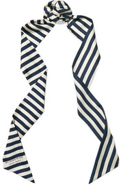 Striped silk-twill scarf