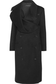 Draped double-breasted wool-felt coat