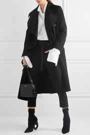Burberry Draped double-breasted wool-felt coat