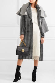 Draped houndstooth wool coat