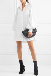 Pintucked herringbone cotton and faille shirt dress