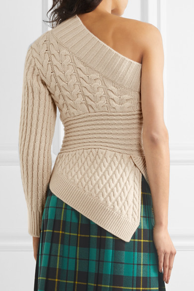 Burberry One Shoulder Cable Knit Cashmere Sweater Net