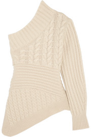 One-shoulder cable-knit cashmere sweater