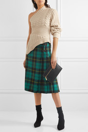 Burberry One-shoulder cable-knit cashmere sweater