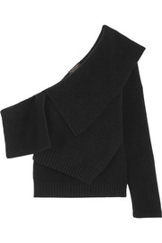 Burberry One-shoulder ribbed wool and cashmere-blend sweater