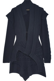 Cable knit-paneled ribbed wool and cashmere-blend cardigan