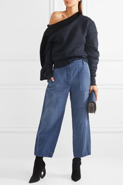Cropped brushed ramie and cotton-blend pants