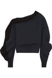 Asymmetric off-the-shoulder cotton-blend sweatshirt