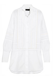 Pintucked macramé lace-paneled cotton shirt