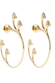 Sprouting Hoops 18-karat gold diamond earrings
