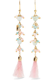 Baby gold-tone, quartz and tinsel earrings