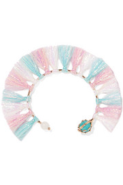 Baby tinsel, turquoise and quartz bracelet