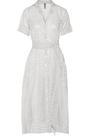 Polka-dot cotton-voile midi dress