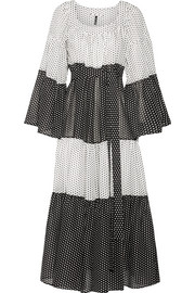 Tiered polka-dot cotton-voile maxi dress