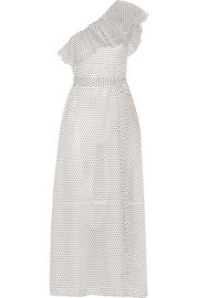 Lisa Marie Fernandez Arden one-shoulder polka-dot cotton-voile maxi dress