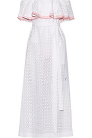 Lisa Marie Fernandez Mira off-the-shoulder rickrack-trimmed broderie anglaise cotton midi dress