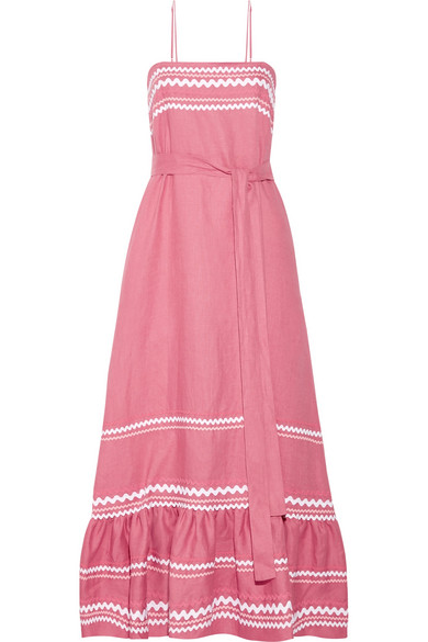 Sale Best Discount Cheapest Price Rickrack-trimmed Linen Maxi Dress - Pink Lisa Marie Fernandez Buy Cheap Best Seller VCJt4XYWa