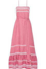 Rickrack-trimmed linen maxi dress