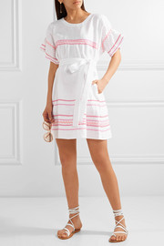 Lisa Marie Fernandez Fiesta rickrack-trimmed linen mini dress