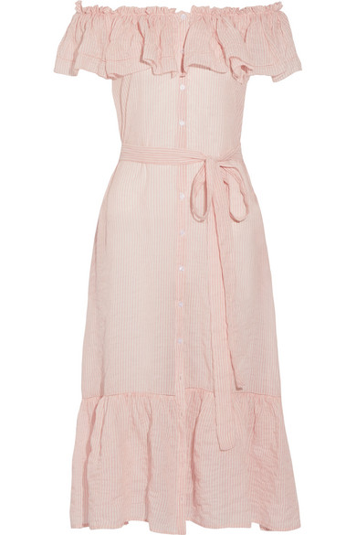 Lisa Marie Fernandez - Mira Off-the-shoulder Striped Cotton-voile Midi Dress - Pastel pink