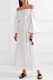 Lisa Marie Fernandez Off-the-shoulder pointelle-trimmed linen-gauze maxi dress