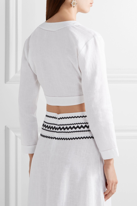 Lisa Marie Fernandez Cropped pointelle-trimmed linen top
