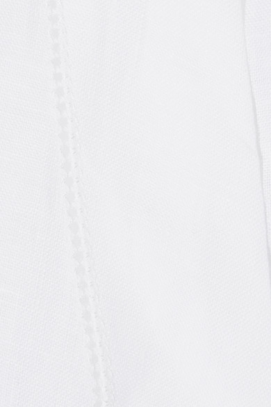 Lisa Marie Fernandez Verkürztes Oberteil aus Leinen mit Pointelle-Besatz