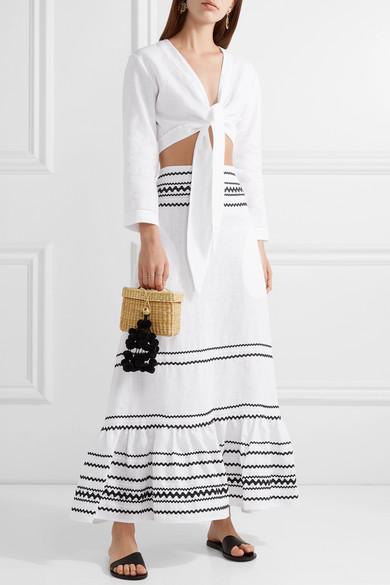 Fiesta Rickrack Trimmed Ruffled Linen Maxi Skirt by Lisa Marie Fernandez