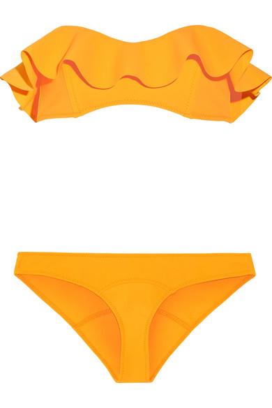 Lisa Marie Fernandez - Natalie Flounce Ruffled Bandeau Bikini - Marigold