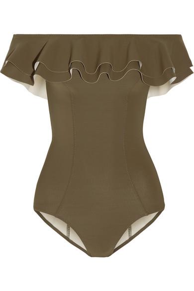 Lisa Marie Fernandez - Mira Off-the-shoulder Ruffled Bonded Swimsuit - Army green