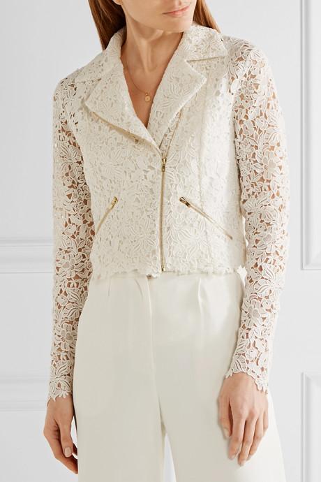 Drew cotton-blend guipure lace jacket