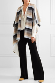 Ribbed striped cashmere wrap