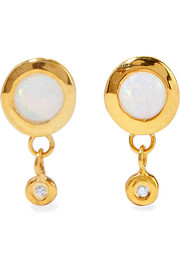 Paradise gold-plated, opal and diamond earrings